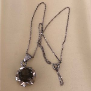Sterling Smoky Topaz Pendant Necklace Mexico NOS